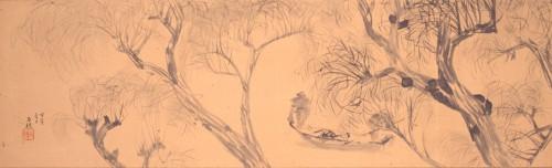 平福百穂《水辺楊柳図》